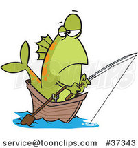 Cartoon Fish Fishing from a Boat by Ron Leishman