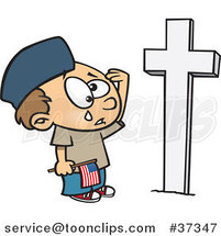 Cartoon Boy Crying at a Soldiers Grave on Memorial Day by Ron Leishman