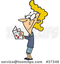 Cartoon Mom Crying While Reading Her Mothers Day Card by Ron Leishman