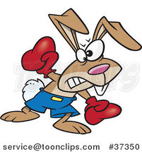 Cartoon Boxer Bunny Rabbit Punching by Ron Leishman