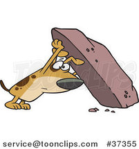 Cartoon Treasure Hunting Dog Looking Under a Rock by Ron Leishman