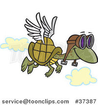 Cartoon Tortoise Flying with Pilot Goggles by Ron Leishman