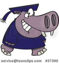 Cartoon Graduate Hippo Walking and Smiling by Ron Leishman