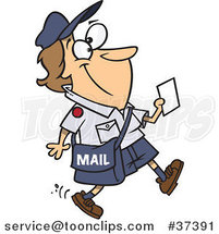 Cartoon Happy Mail Lady Walking and Carrying a Message by Ron Leishman