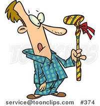 Cartoon Guy Holding a Wrapped Golf Club by Ron Leishman
