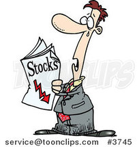 Cartoon Guy Reading Bad News in the Stocks Pages by Ron Leishman