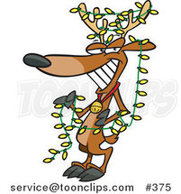 Cartoon Christmas Reindeer Decked out in Yellow Lights by Ron Leishman