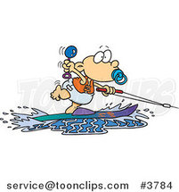 Cartoon Baby Boy Water Skiing by Toonaday