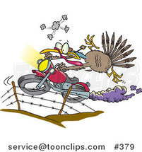 Cartoon Turkey Bird Escaping on a Motorcycle by Toonaday