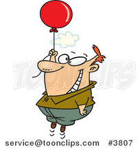 Cartoon Happy Guy Floating with a Balloon by Ron Leishman