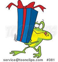 Cartoon Frog Carrying a Gift Box by Ron Leishman