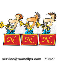 Cartoon Trumpet Band by Ron Leishman