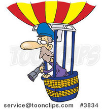 Cartoon Balloonist Using a Telescope by Ron Leishman