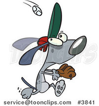Cartoon Dog Running to Catch a Baseball by Toonaday