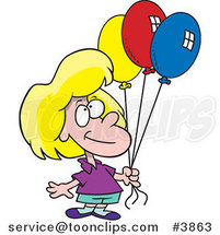 Cartoon Birthday Girl Holding Three Balloons by Ron Leishman