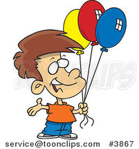 Cartoon Birthday Boy Holding Three Balloons by Ron Leishman