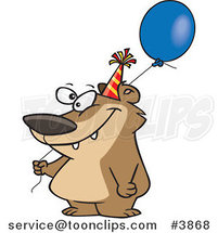 Cartoon Birthday Bear Holding a Balloon by Toonaday