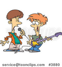 Two Cartoon Boys Singing and Playing a Guitar in a Band by Ron Leishman