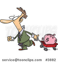 Cartoon Business Man Pulling a Piggy Bank in a Wagon by Ron Leishman