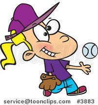 Cartoon Tomboy Girl Tossing and Catching a Baseball by Ron Leishman