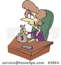 Cartoon Female Banker Giving a Loan by Ron Leishman