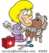 Cartoon Girl Bandaging up Her Teddy Bear by Toonaday