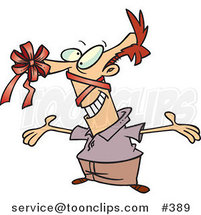 Cartoon Guy with a Gift Bow on His Nose by Ron Leishman