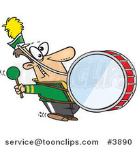 Cartoon Marching Band Drummer by Ron Leishman