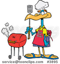 Cartoon Bird Standing by His Bbq by Toonaday