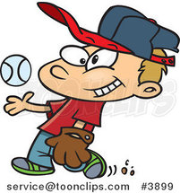 Cartoon Boy Tossing and Catching a Baseball by Ron Leishman