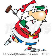 Cartoon Santa Golfing by Ron Leishman