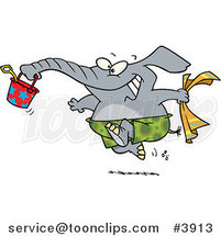 Cartoon Summer Elephant Running on a Beach by Ron Leishman