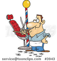 Cartoon Barber Standing by His Chair and Holding up Scissors by Toonaday