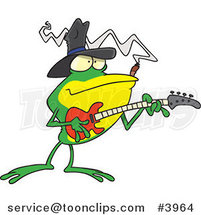 Cartoon Bass Guitarist Frog by Ron Leishman