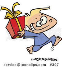 Cartoon Black Boy Running with a Gift Box by Ron Leishman