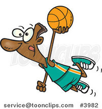 Cartoon Black Basketball Player Flying by Toonaday