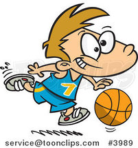 Cartoon Basketball Boy Dribbling by Ron Leishman