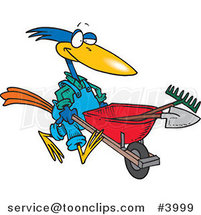 Cartoon Bird Landscaper Pushing a Wheel Barrow by Toonaday