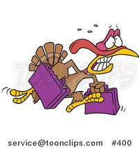 Cartoon Turkey Bird Running in Panic with Luggage by Toonaday