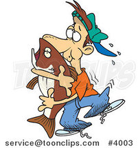 Cartoon Guy Hugging a Bass Fish by Ron Leishman