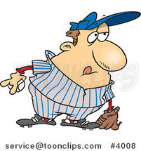 Cartoon Chubby Baseball Player by Toonaday