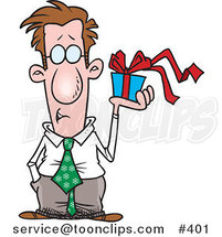 Cartoon Guy Holding a Gift Box by Ron Leishman