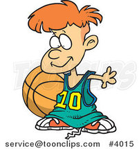 Cartoon Basketball Boy with a Big Ball by Ron Leishman