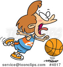 Cartoon Basketball Girl Dribbling by Ron Leishman
