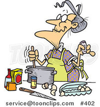Cartoon Old Lady Baking by Ron Leishman