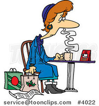 Cartoon Tired Christmas Shopper Drinking Coffee by Ron Leishman