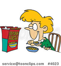 Cartoon Girl Eating Sugary Cereal by Ron Leishman