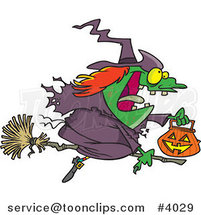 Cartoon Halloween Witch Flying on Her Broom by Ron Leishman