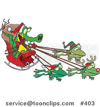 Cartoon Crocodile Santa with Frog Reindeer by Ron Leishman
