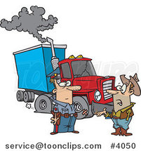 Cartoon Police Guy Assisting a Trucker with a Broken down Rig by Ron Leishman